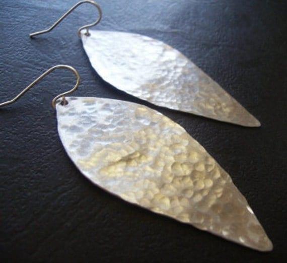 Hammered Silver Leaf Earrings (Aluminum)