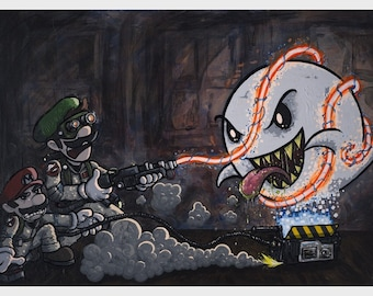 mario and luigi as ghostbusters Boobusters 12 x 18 inch print
