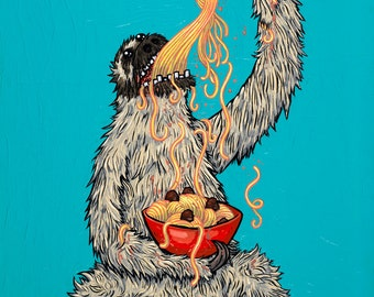 Sloth Eating Spaghetti 11x14 Giclee Print