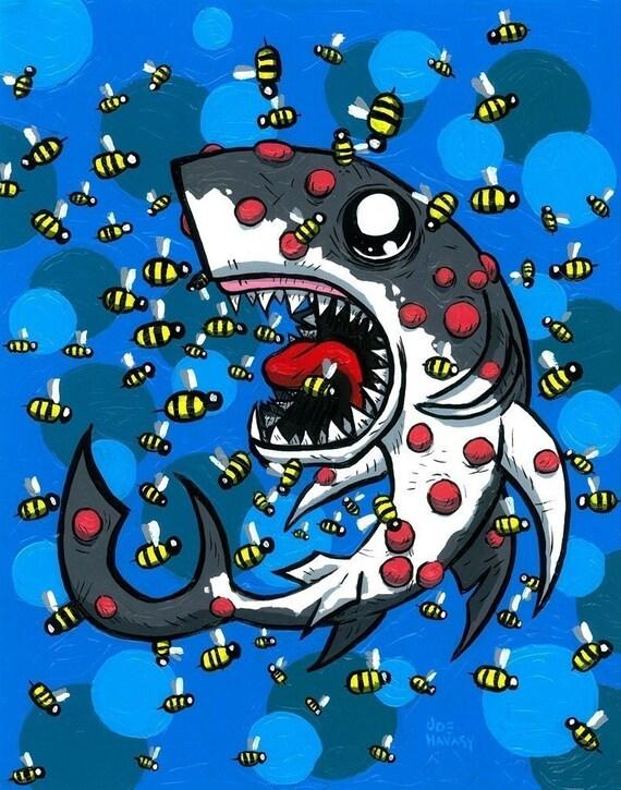 Sea Bee Attack Giclee Print Set