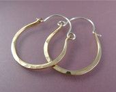 mini aurora ... hand forged, 14k gold filled hoops