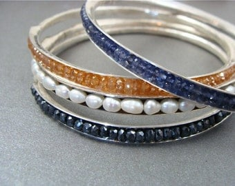 skinny iolite bangle