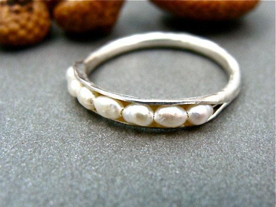 mini pearl stack ring