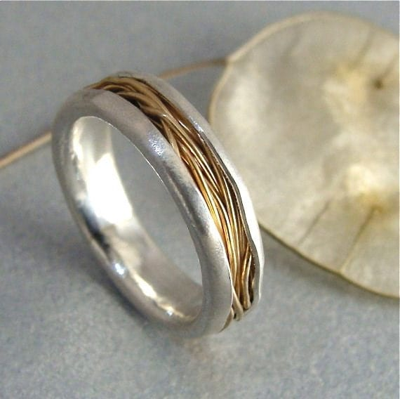 intertwined 14k gold and silver ring by sirenjewels on