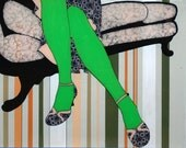 Formidable Green Tights-Print of Original Window Painting