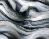 graphite Tussah Silk/Merino Wool gigglejelly colourblend roving 3.6oz/100g