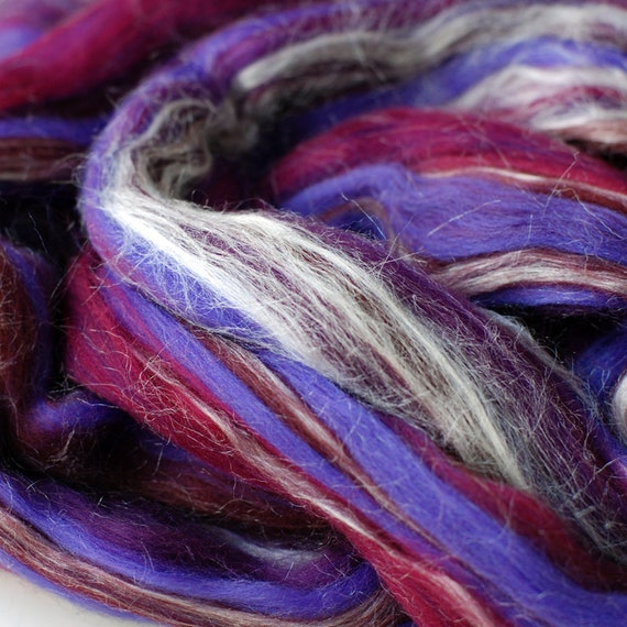 blackcurrant Tussah Silk/Merino Wool gigglejelly colourblend roving 3.6oz/100g