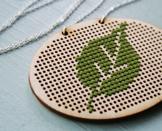 Leaf Necklace - cross-stitch crossstitch embroidery green olive wood modern minimal nature woodland long minimalist