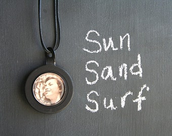 Sun Sand Surf . NECKLACE . Recycled Vintage Opticians Lens Pendant