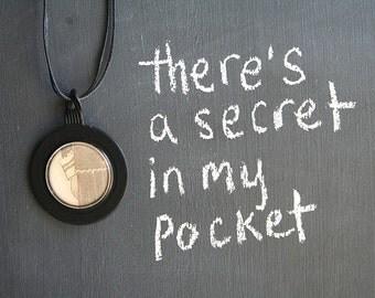 My Pocket . NECKLACE . Vintage Storybook Illustration . Antique Opticians Lens