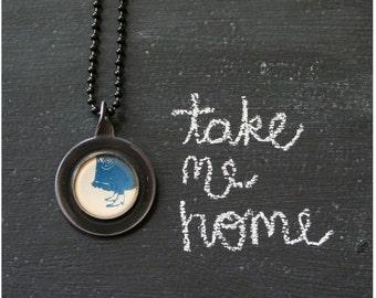 Take Me Home . NECKLACE . Vintage Story Book Illustration . Antique Optical Lens