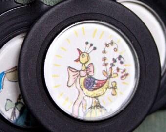 Crazy Old Bird . NECKLACE . Vintage Story Book Illustration . Antique Optical Lens