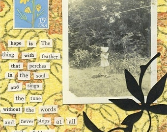 Collage Card . HOPE . Vintage Photograph