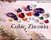 Cubic Zirconia Loose Gems - Perfect for setting, PMC or Art Clay Projects - Spectrum Set - plus bonus stones