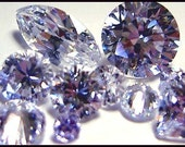 Cubic Zirconia Loose Gems - Perfect for setting, PMC or Art Clay Projects - Highest Grade CLEAR Loaded with Flash