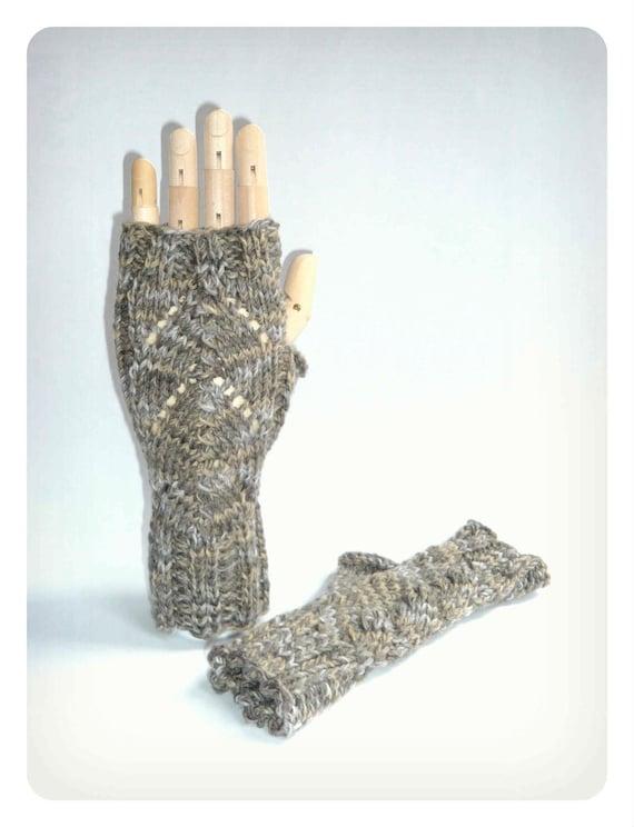 Fisherman's Wife Fingerless Gloves Knit Wool Cotton Lace