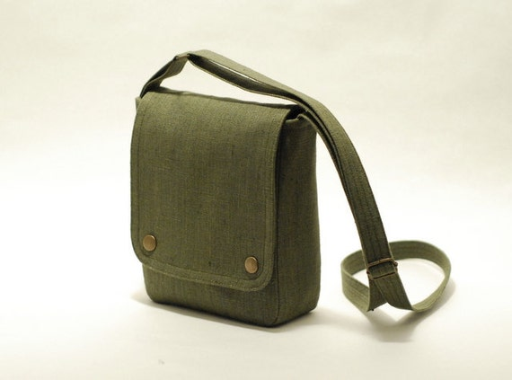 Small messenger bag, khaki green - small cross body bag - linen bag