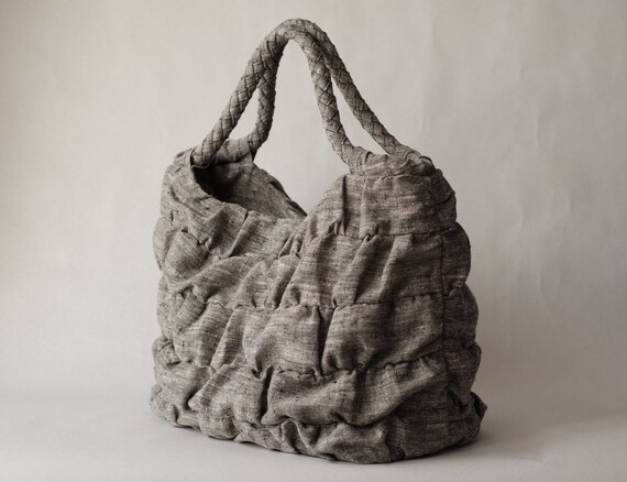 Ruffled Linen Bag in variegated grey