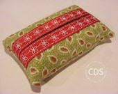 Tissue Holder in Green Paisley Print with Grosgrain Ribbon