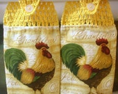 2 Rooster Hanging Towels