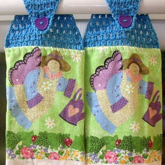 2 Teal Blue Crochet Hanging Towels with Angel