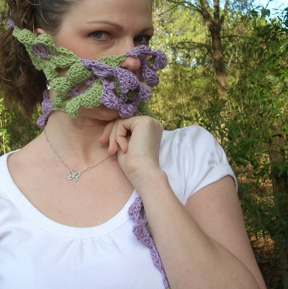 RESERVED FOR PATTI ONLY. Spring Flowers FREEDOM  SCARF in Lime Green and Lavender Cotton, FREE SHIPPING.