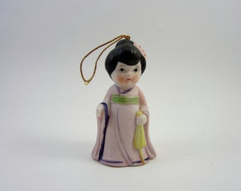 Vintage Japanese Girl Bell - Retro Asian Child Bell - Pink