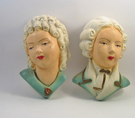 Vintage Chalkware - Marie Antoinette and Louie -French Victorian Couple - Light Blue Wall Hangings
