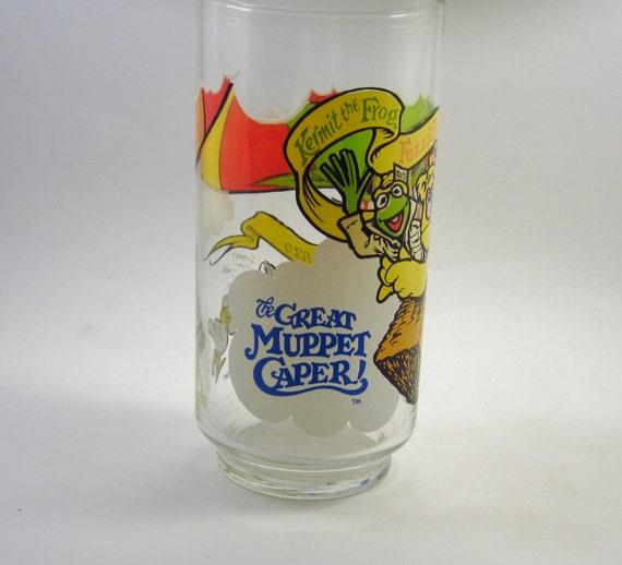 Vintage Great Muppet Caper Glass - Muppets Drinking Glass - Kermit The Frog - Fozzie Bear - Gonzo - 1980's Kitsch
