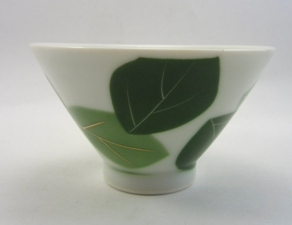 RESERVED FOR DOUG H   Vintage Japanese Sake Cup - Retro Asian Wine Glass - Green Leaf - Green Leaves