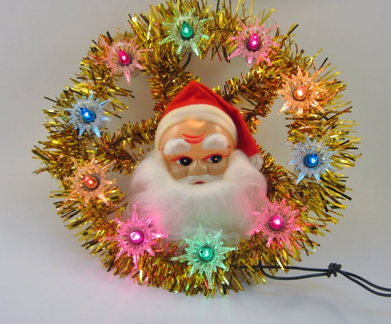 Vintage santa lighted tree topper retro christmas
