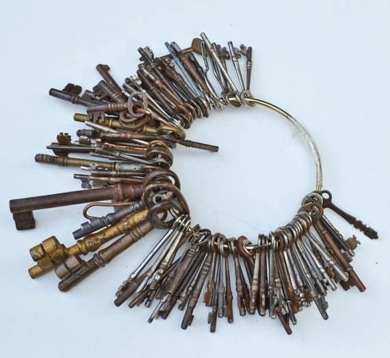RESERVED for April Iris McLeod - Collection of 100 Antique Keys in Steel and Brass and Iron