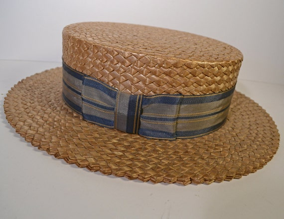 Gorgeous Antique Straw Boater Hat Early 1900s