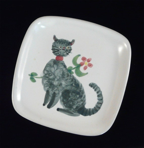 Vintage Glidden Pottery Plate With Cat By Tandemantiques