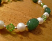 Extra long green and white bracelet