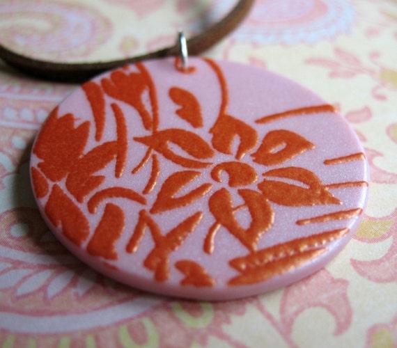Carnelian Fleuret on Pink - Polymer Pendant
