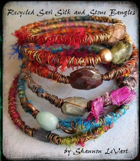Sari Silk and Stone Bangle Tutorial - Digital PDF How To File for instant gratification
