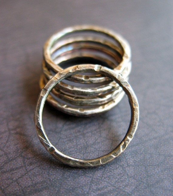 Antiqued Notched Sterling Silver Circles - 6 - 16mm