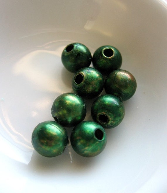 Laurel Green Beads - set of 8 - 8mm Patina Copper Beads - BDS00500