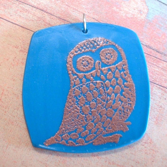Copper Owl - Teal Polymer Clay Pendant