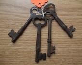 Vintage very rusty genuine skeleton key 4 pieces 3789