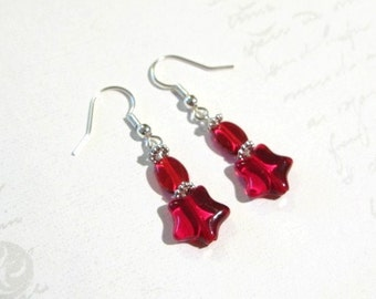 Red Shooting Star Earrings, Christmas Gift, Christmas Party Earrings