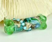 Green Blue Silvered Ivory  Handmade Lampwork Glass Bone Focal Bead - SRA