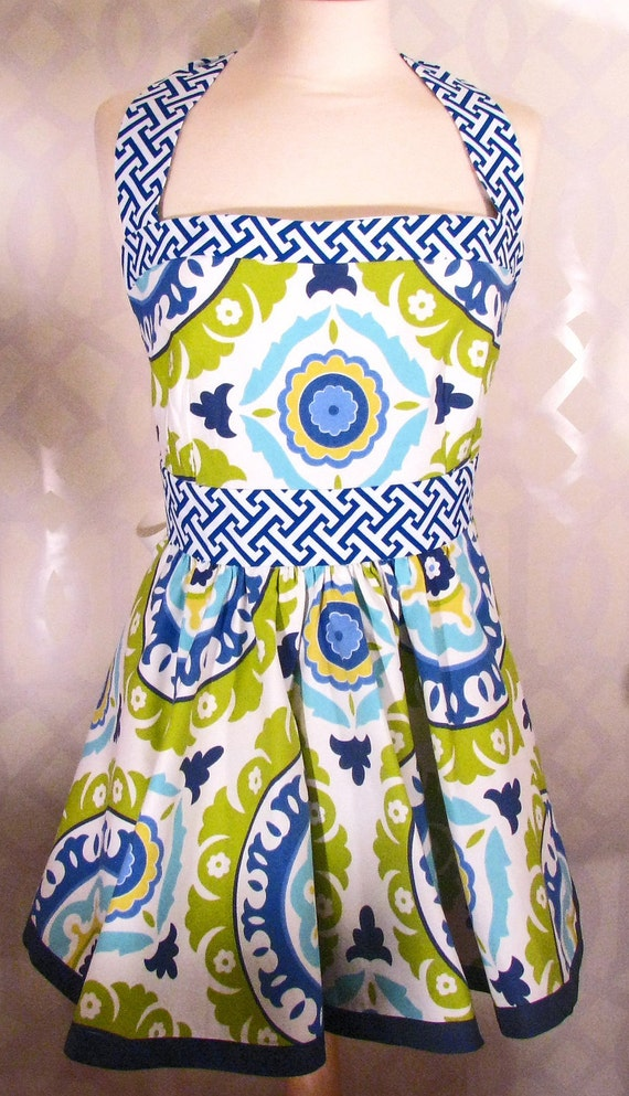 Blue and Lime Suzani Apron