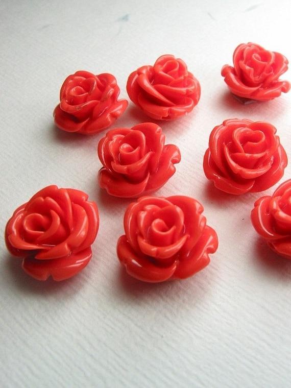 Rose buds 3D beads in Orange,10pcs OFFER