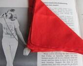 Vintage bright tomato red handkerchief in soft cotton