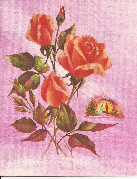 Vintage Christmas Card - Nativity scene and roses 1950's