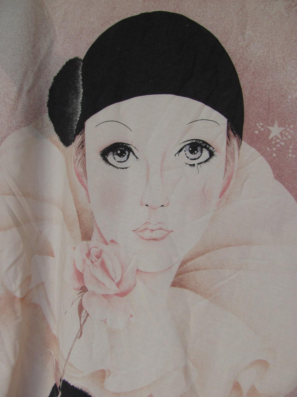 Vintage Fabric Doona Or Duvet Cover Pierrot The Sad Clown