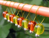 Small Snag Free Knitting Stitch Markers Oranges and Lemons Set of 8 Fits Needles Up To 5mm
