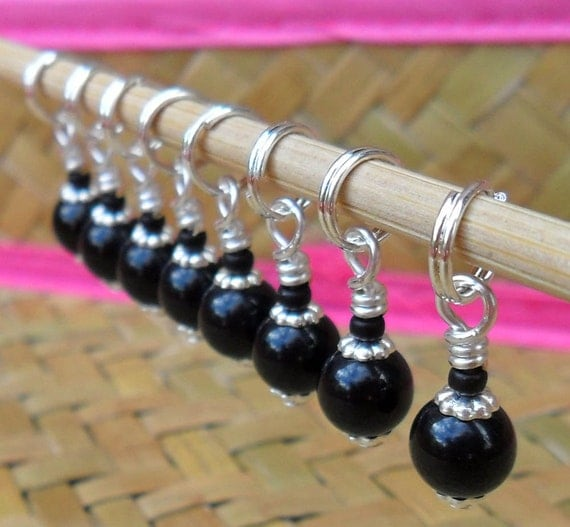 Extra Small Knitting Stitch Markers Black and Silver Set of 8 Fits Needles Up To 3.5mm